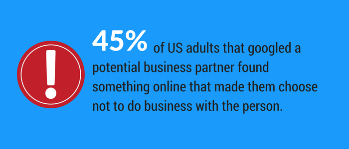 45 percent of adults googled a potential business partner