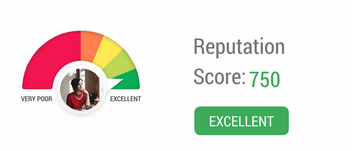 Example of excellent reputation score